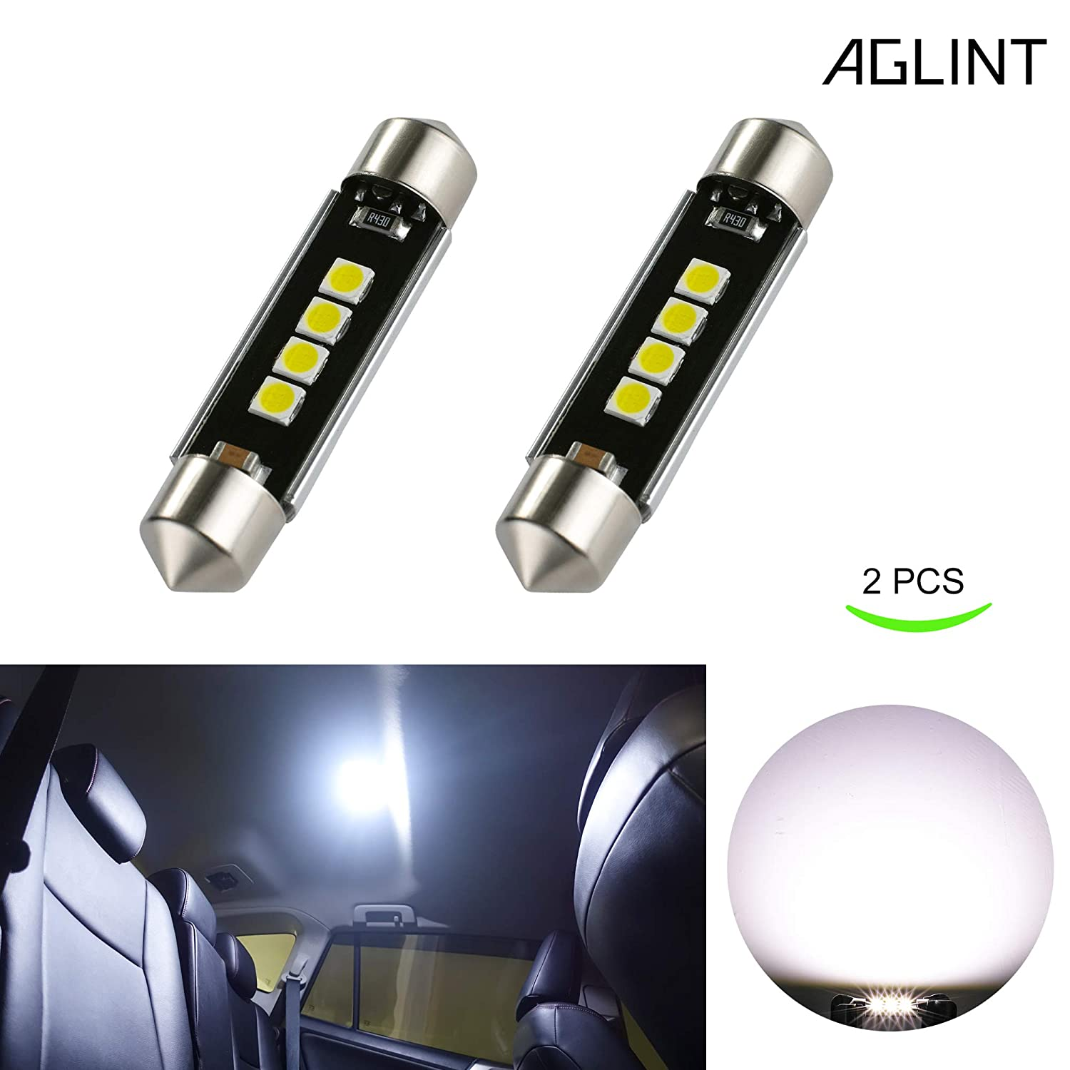 AGLINT 36mm LED Bulb CANBUS Error Free Extremely Bright 3030 Chipsets 3SMD 6000K Xenon White 6411 6418 C5W Festoon LED Bulbs Replacement for Map Dome License Plate Lights Lamps (36mm) AGLINTLED