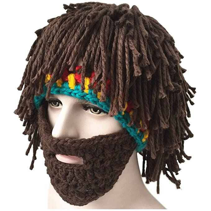 Creative Winter Hat with Knitting Wool Hair and Beards at Amazon ... 64b92a73670