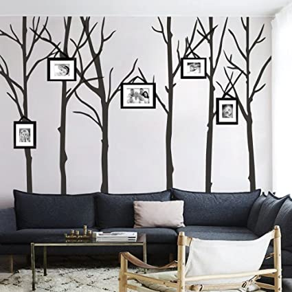 MairGwall Winter Tree Wall Decals Six Trees Wall Stickers For Living Room  And Office Room (