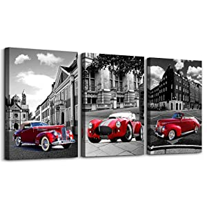 Nostalgic City Street View Black and White Landscape Canvas Wall Art for Living Room Bedroom Decoration,Bathroom Wall Decor 3 Piece Home Decoration Posters red car Office Wall Painting Mural Artwork