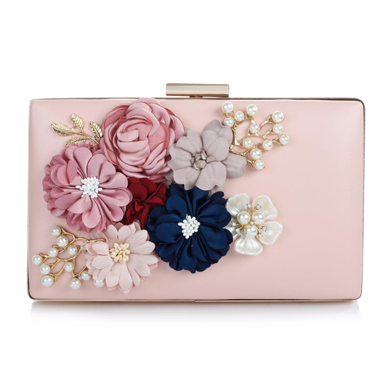 Audixius Hinreißend Damen Rechteckig Party Clutches Mit Blumen Dekoration Pink