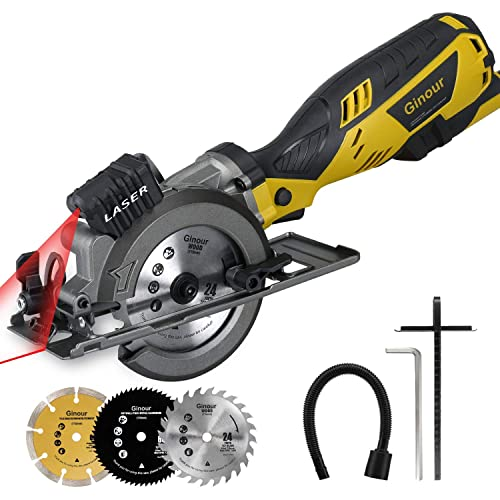 Ginour 4-1 2 Compact Electric Circular Saw Set, 5.8A Circular Saw with Laser Guide, 3 Saw Blades and Scale Ruler Ideal for Wood, Soft Metal, Tile and Plastic Cuts