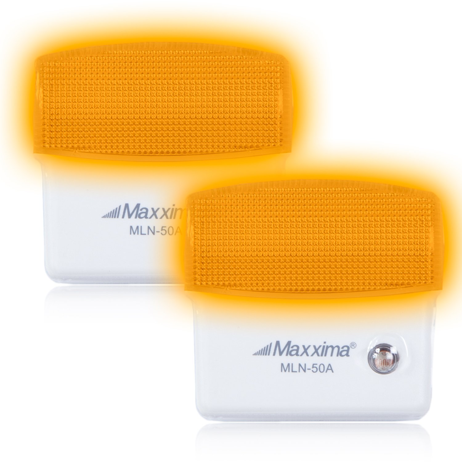 Maxxima MLN-50A Amber LED Night Light With Dusk to Dawn Sensor (Pack of 2)