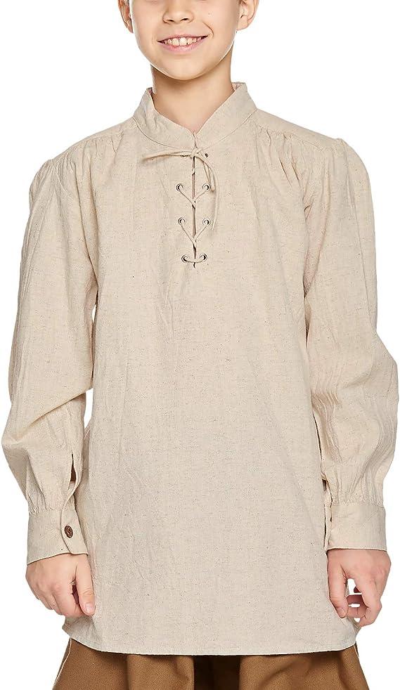 Camisa medieval infantil - traje de criado, caballero o rey - niño - algodón - blanca natural - 12/14 Jahre: Amazon.es: Ropa y accesorios