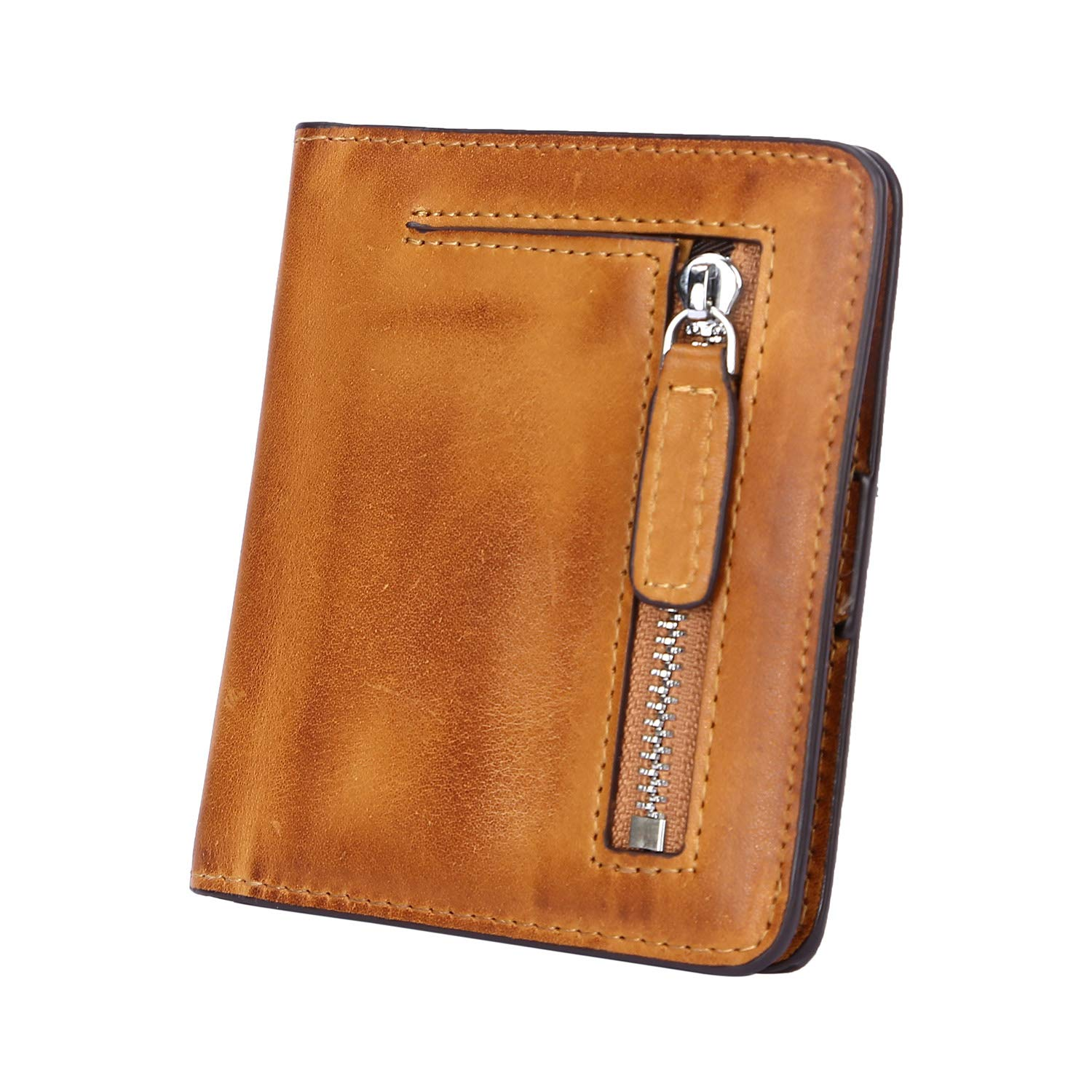 Yafeige Women's RFID Blocking Small Compact Bi-fold Leather Pocket Wallet Mini Slim Purse(Retro Brown)