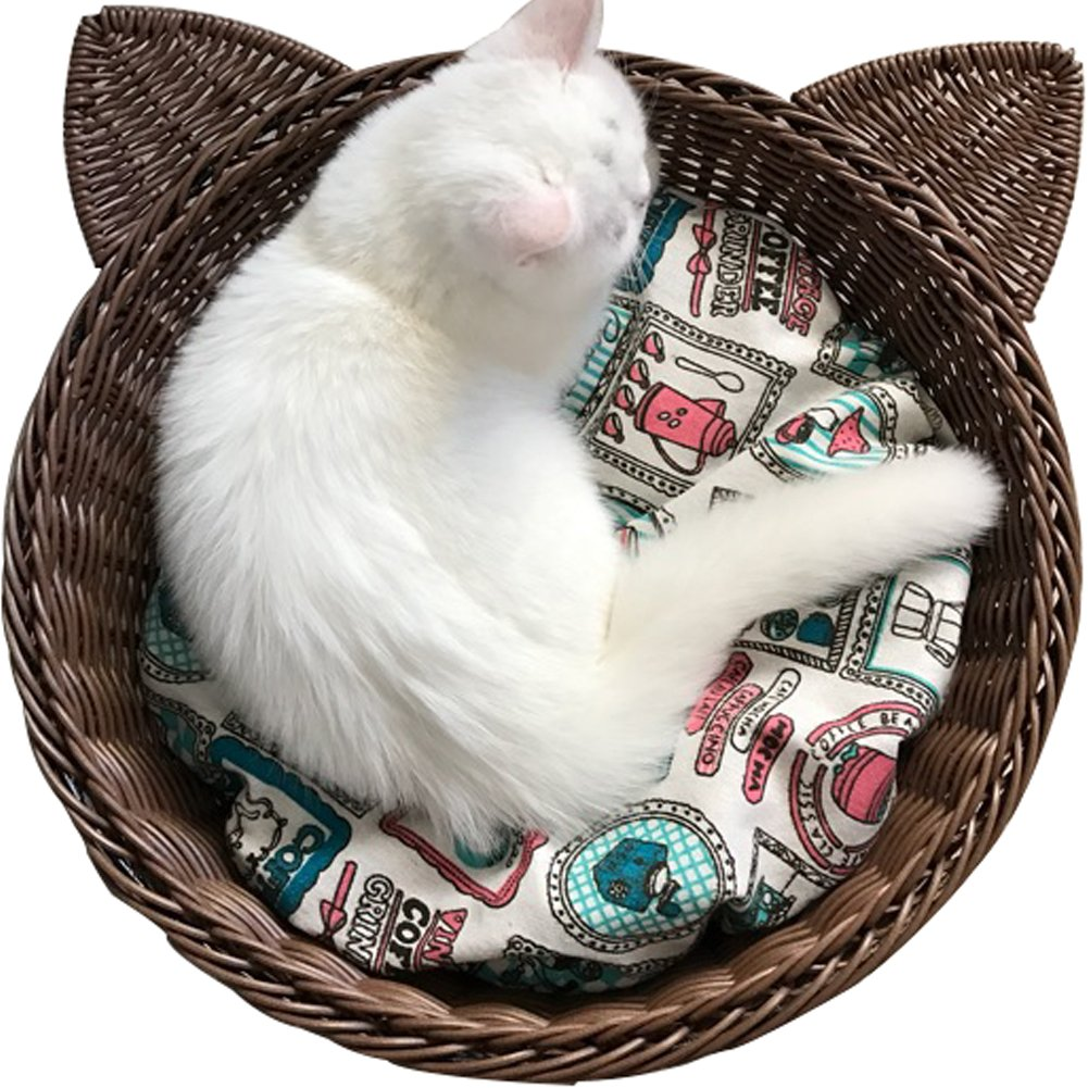 Creation Core Cute Cat-Shaped Rattan Cat Bed Cat Nest with Cushion Mat(Brown)