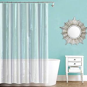 Splash Home Waterproof, Mold/Mildew Resistant, Premium Quality Vinyl Curtain Liner for Bathroom Shower and Bathtub-70 x 72 (Crystal Clear)