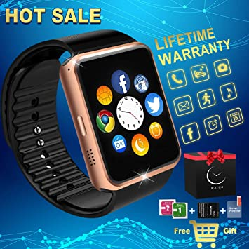 Reloj Inteligente Bluetooth, Smartwatch Impermeable Smart Watch con Camara, SIM/TF Ranura Whatsapp Sports Podómetro Pantalla Táctil Reloj Bracelet para ...