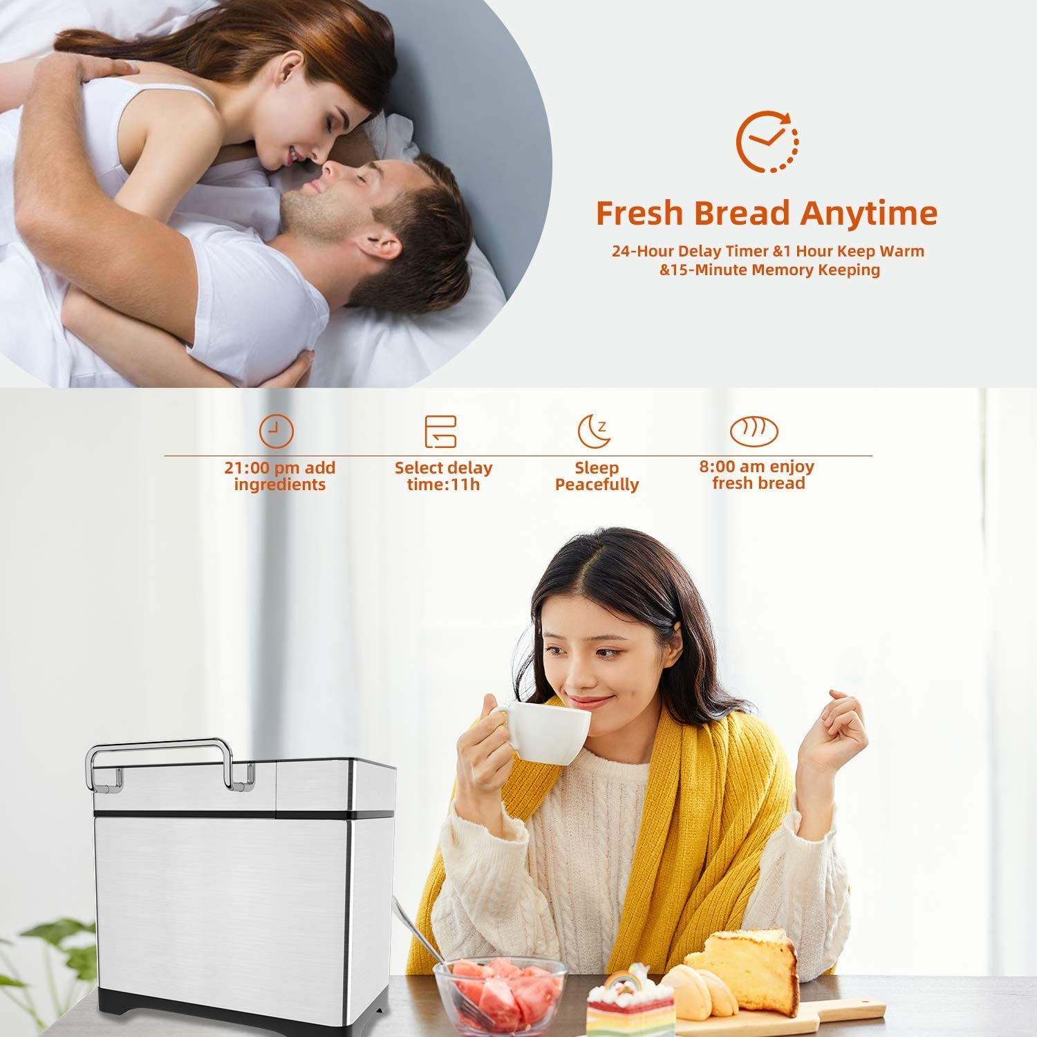 3 Crust Colors Smart Touch Button 3 Loaf Sizes 15 Hours Delay and 1 Hour Keep Warm 17 Programs KBS Automatic Bread Machine 2.2LB Stainless Steel Bread Maker with Fruit Nut Dispenser Ceramic Pan Renewed