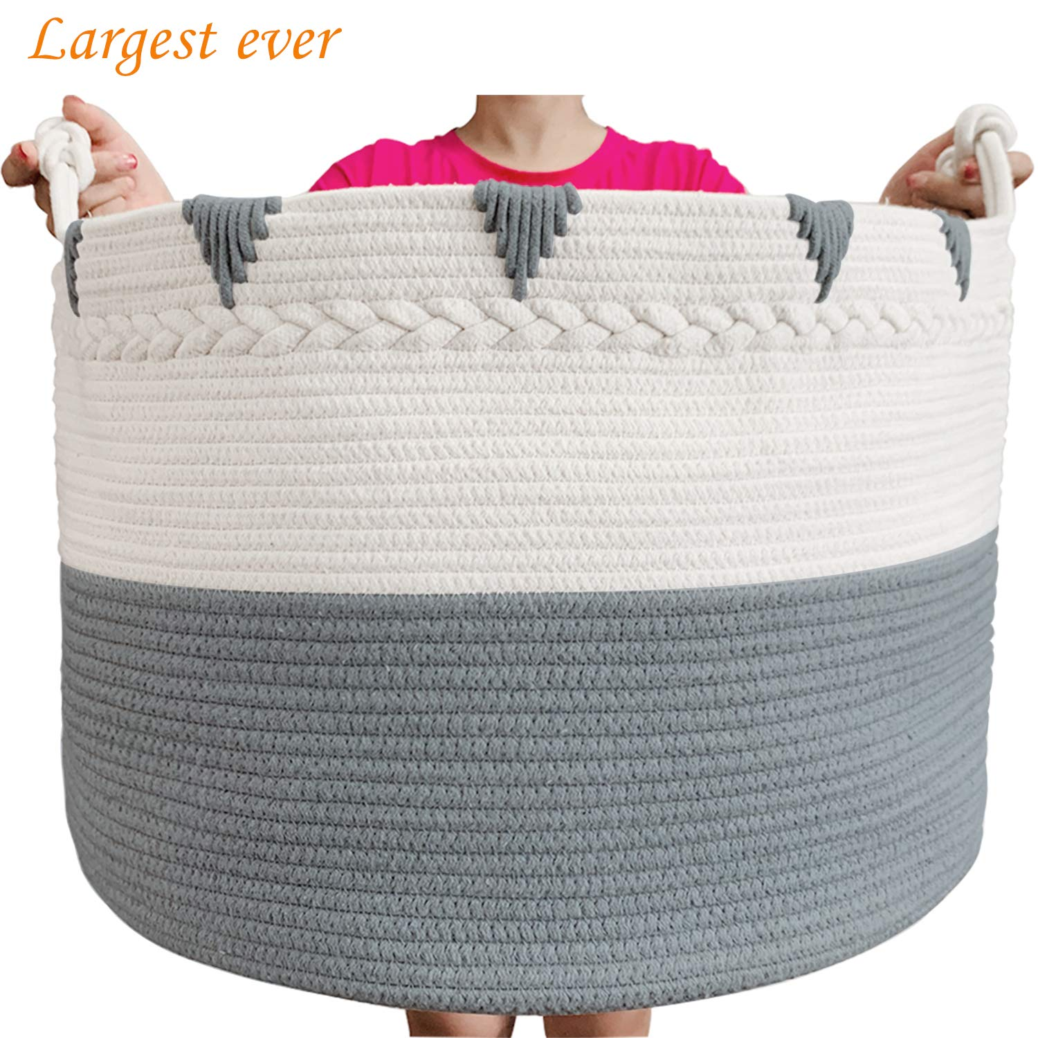 TerriTrophy XXXXLarge Blanket Basket 22in x 22in x 16in Woven Baskets for Blankets Throws Toy Basket Laundry Baskets Storage Basket for Towel Diaper Laundry Basket