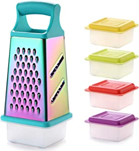 Marco Almond KYA57 Professional Rainbow Titanium Box Grater,Stainless Steel Grater with 4 Sides,Slicer 5 Piece Set, Potato,Cheese,Cucumber,Salad Vegetables Graters Peelers, Dishwasher safe, Turquoise