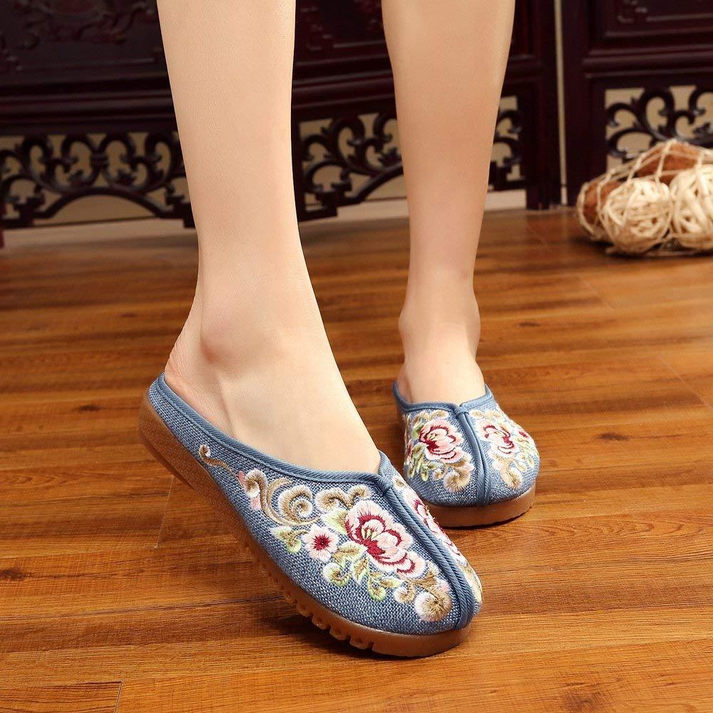 Moontang Chaussures brodées, Semelle Tendon, Style Ethnique, Tongs Femme, Mode, Confort, Sandales décontractées, Bleu (coloré : -, Taille : -) Sandales décontractées Bleu (coloré :