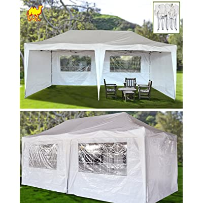 STRONG CAMEL 10'X20'EZ POP UP Wedding Party Tent PE Folding Gazebo Beach Camping Canopy 4 WALLS/Carry Bag-WHITE : Outdoor Canopies : Garden & Outdoor