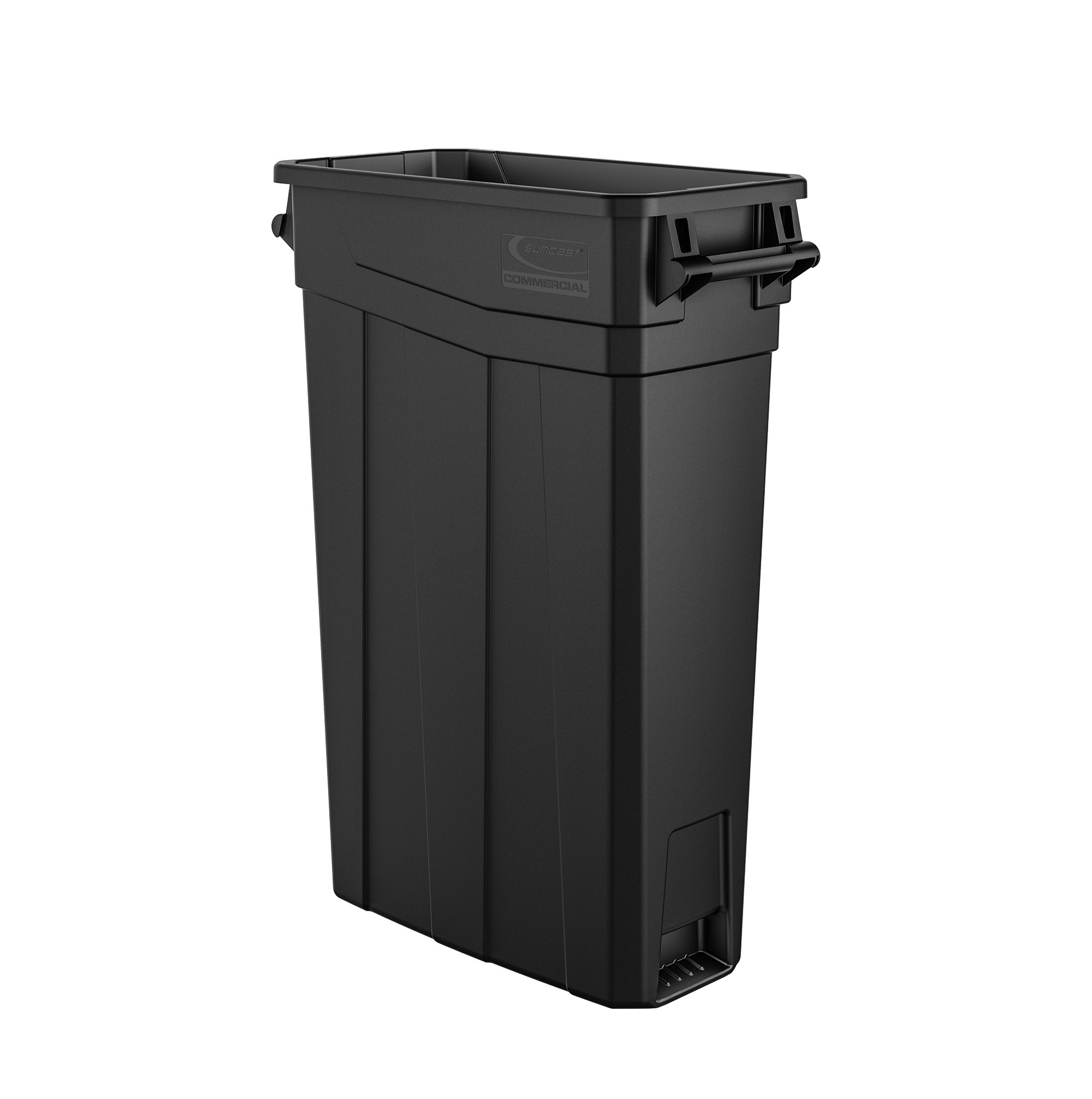 Suncast Commercial TCNH2030BK Narrow Trash Can With Handles, 30.00'' Height x 11.08'' Width, 23 gal Capacity, Black