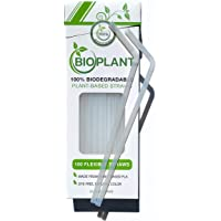 BIOPLANT 100 Pack Plant-based Corn Biodegradable Straws. Plasticless Flexible Bendy Straws, Plastic-Free disposable…