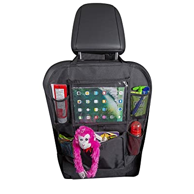 Car Back Seat Organizer for Kids and Toddlers by Tidelands | 5 Pockets, Touch Screen Tablet Holder for Android & iOS | Multipurpose | Kick Mat, Car Organizer: Automotive