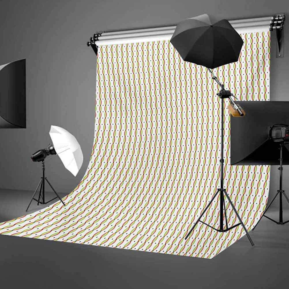 Geometric Convex Wavy Vertical Stripes with Little Diamond Figures Colorful Image Background for Baby Shower Bridal Wedding Studio Photography Pictures Abstract 6.5x10 FT Photography Backdrop