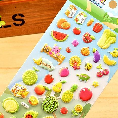 5 Sheets Cute Cartoon Fruits Scrapbooking Bubble Puffy Stickers Reward Kids·T JB