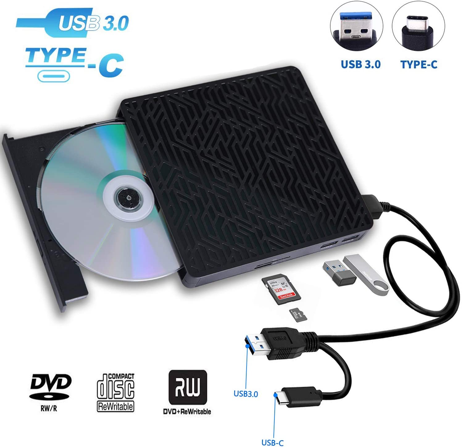 USB 3.0&USB-C External CD DVD Drive,Multifunctional External CD/DVD +/- RW Burner Player Writer Support SD/TF Card/2 USB 3.0 Ports/Charging,Compatible with Mac OS/Windows/MacBook/Laptop/Desktop-Black