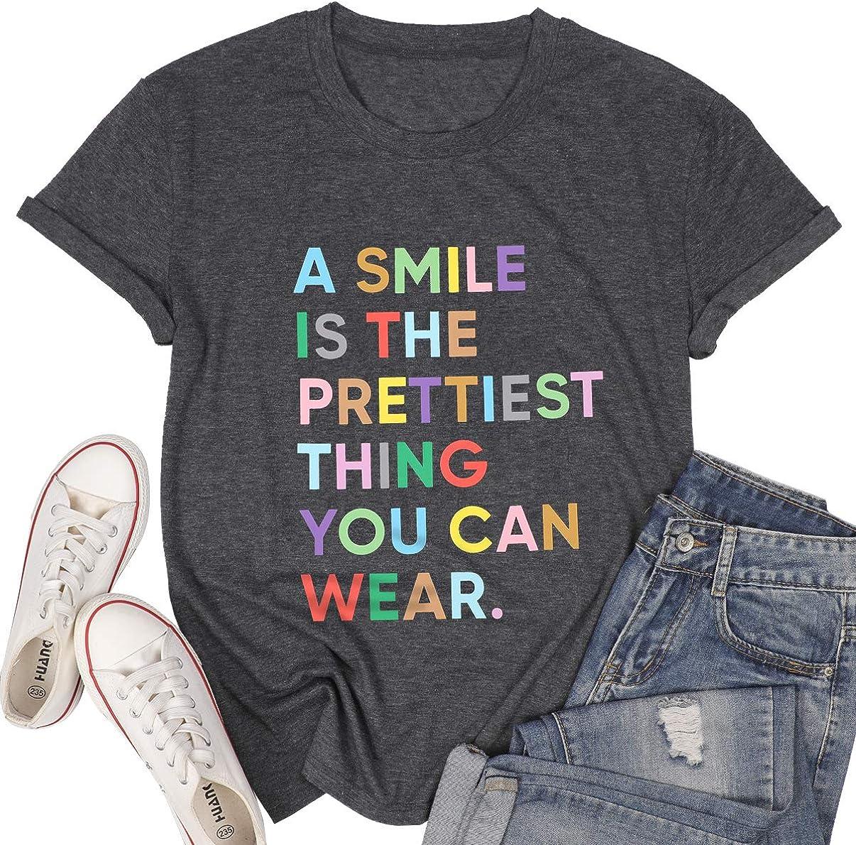 MOUSYA Women Smile Shirt Fun Letter Print T-Shirt Casual Inspirational T Shirt Top Cute Graphic Tee