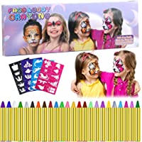 Emooqi Pintura Facial, 24 Colores Pintura de Cara Pintura Facial Seguro y No Tóxico Pinturas Cara para Niños con 40 Plantillas,Ideal para Carnaval,Cosplay,Fiestas Temáticas - Regalo de Los Niños