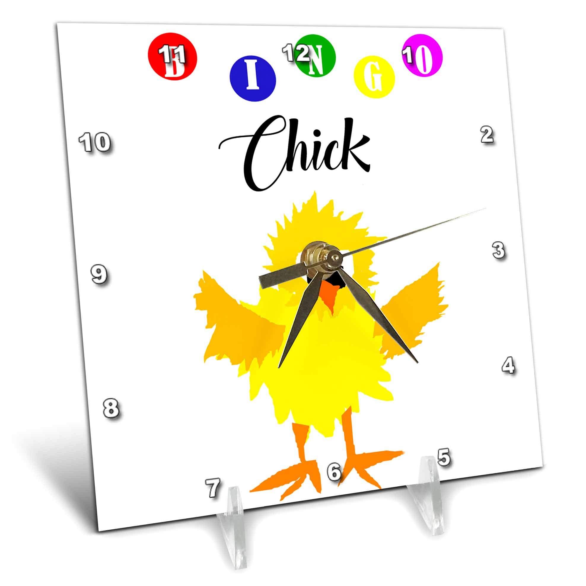 3dRose All Smiles Art Sports and Hobbies - Funny Bingo Chick Playing Bingo Cartoon - 6x6 Desk Clock (dc_288050_1) by 3dRose