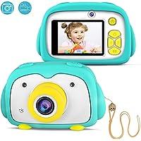 """FISHOAKY Cámara de Fotos para Niños, Recargable Cámara Digitale con 2 Objetivos Selfie/8MP/1080P HD Videocámaras/ 2"""" LCD/Flash/ Juguete Regalos Niña 3-10 Años (Green)"""
