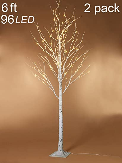 Amazon.com: Twinkle Star 6 Feet 96 LED Lighted Birch Tree for Home ...