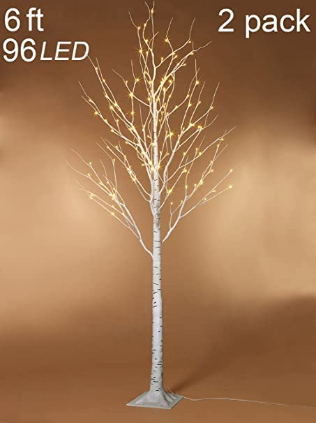 img buy Twinkle Star 6 Feet 96 LED Lighted Birch Tree for Home Wedding Party Indoor Outdoor Christmas Decoration, 2 Pack, Warm White