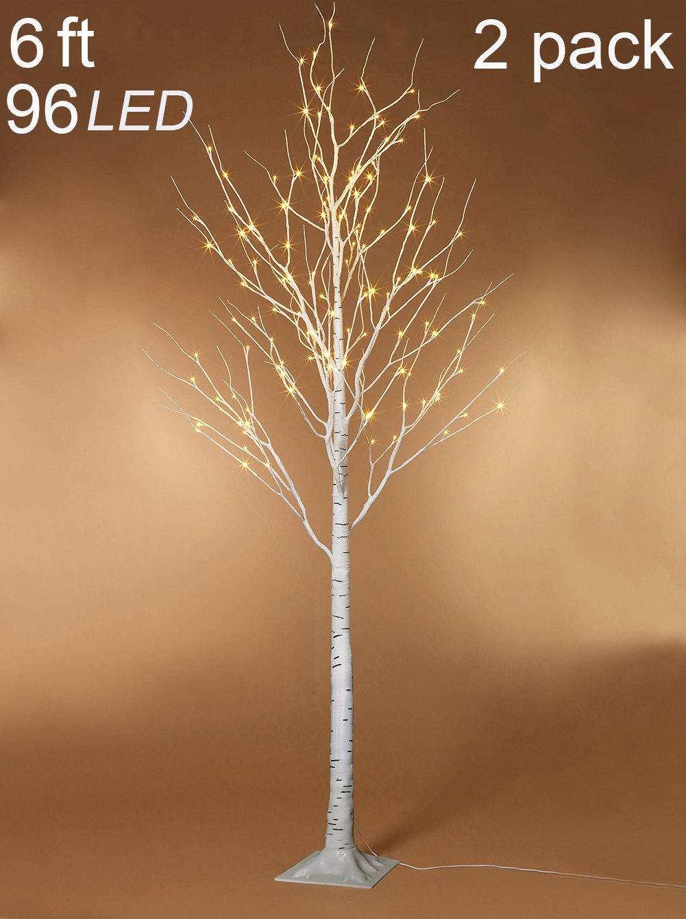 Twinkle Star 6 Feet 96 LED Lighted Birch Tree Home Wedding Party Indoor Outdoor, 2 Pack, Warm White