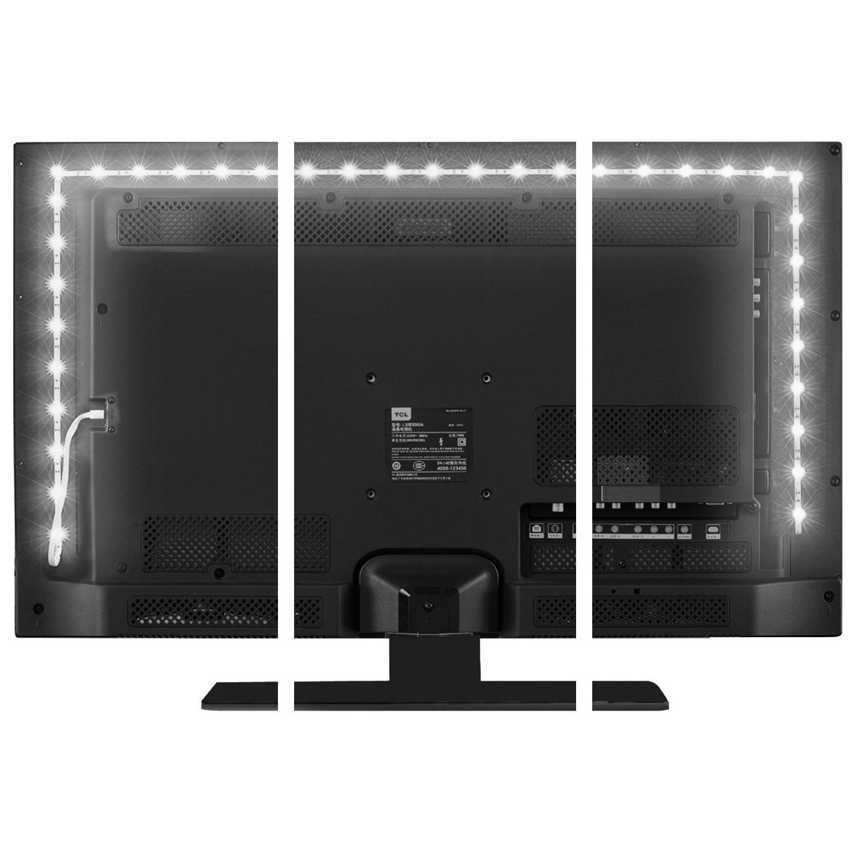 TV Backlight Kit,Vansky Bias Lighting for 40-60'' HDTV USB Powered 6.6ft White LED Strip Lights for Flat Screen TV, Desktop PC (Reduce Eye Fatigue, Increase Image Clarity) by Vansky