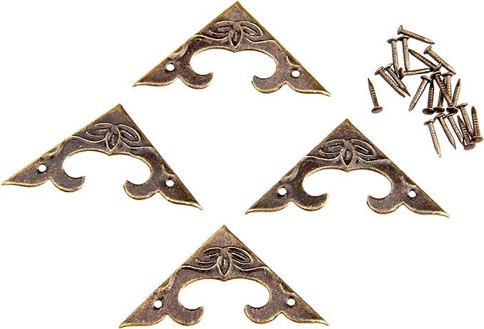 20Pcs 30x30x4.5mm Vintage Antique Brass Wood Box Bracket Case Chest Corner Protector Guard Decoration