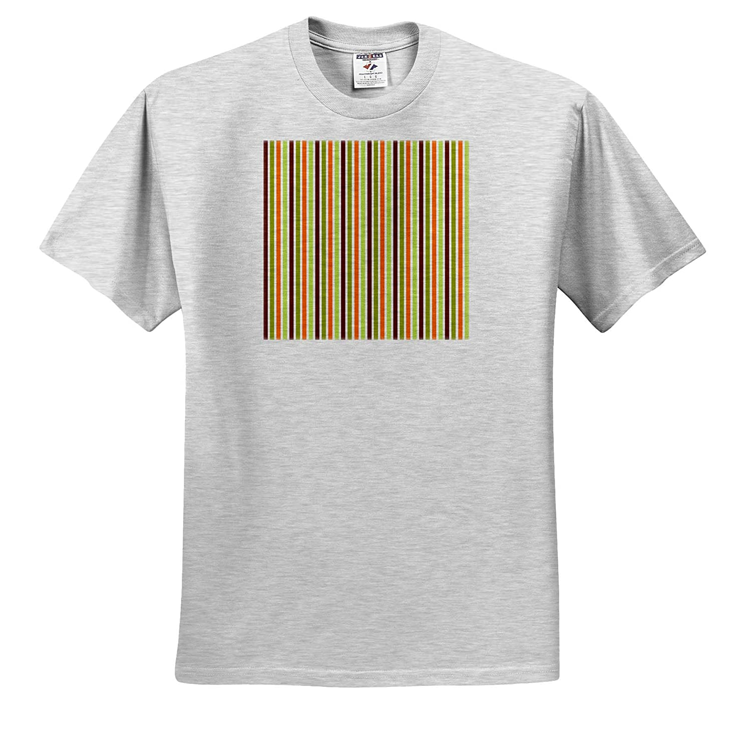 3dRose Alexis Design Orange Green Pattern of Vertical Lines of Brown T-Shirts Pattern Dot Line Chevron White Colors