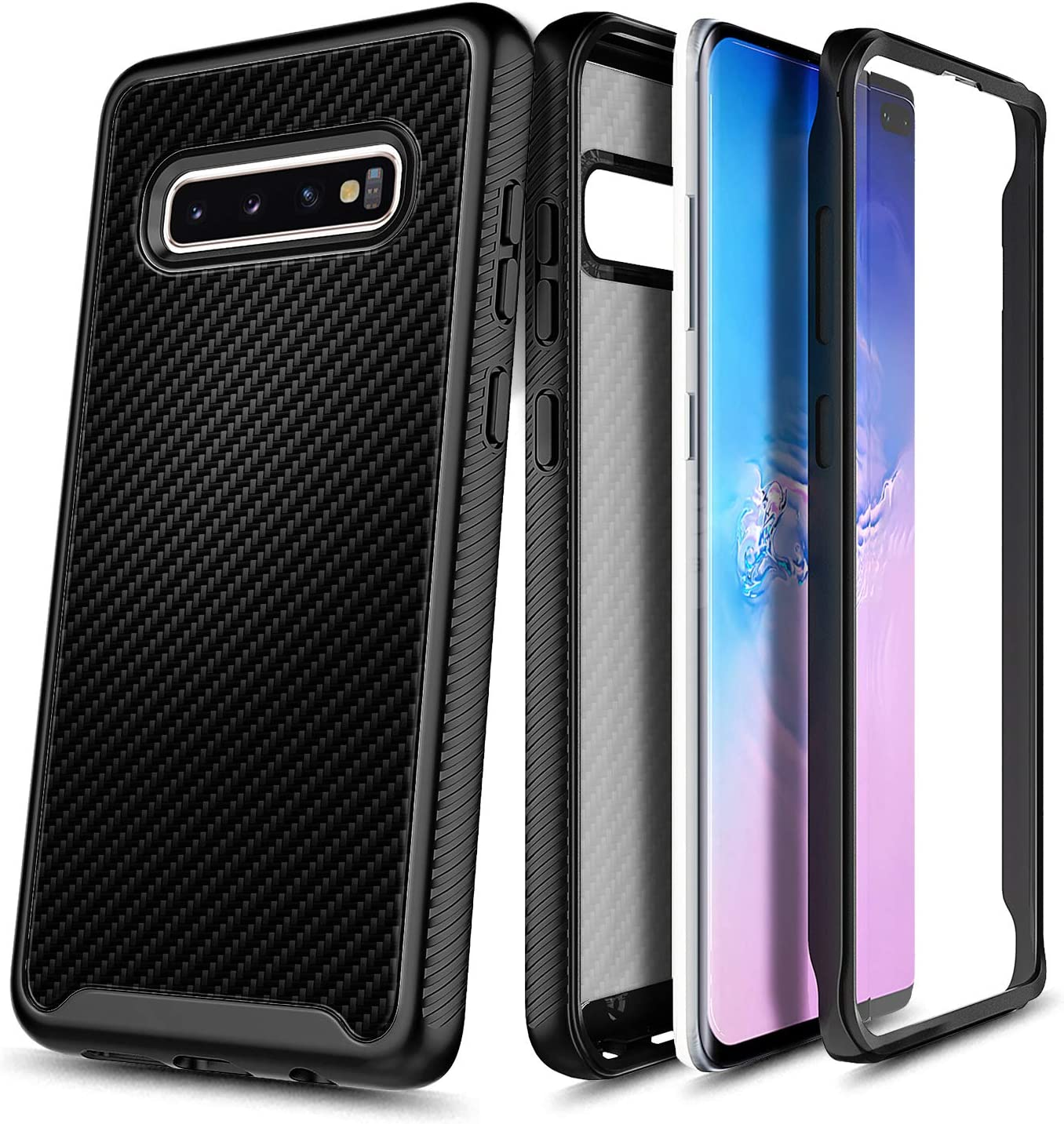 E-Began Case for Samsung Galaxy S10e, Full-Body Shockproof Protective Black Bumper Cover (Without Screen Protector), Support Wireless Charging, Durable Phone Case (5.8 inch) -Carbon Fiber