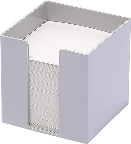 Caja de plástico para notas, 95 x 95 x 95 mm, rellena con 700 hojas de papel blanco (80 g/m²), color Ángel azul, gris, papel reciclado.: Amazon.es: Oficina y papelería