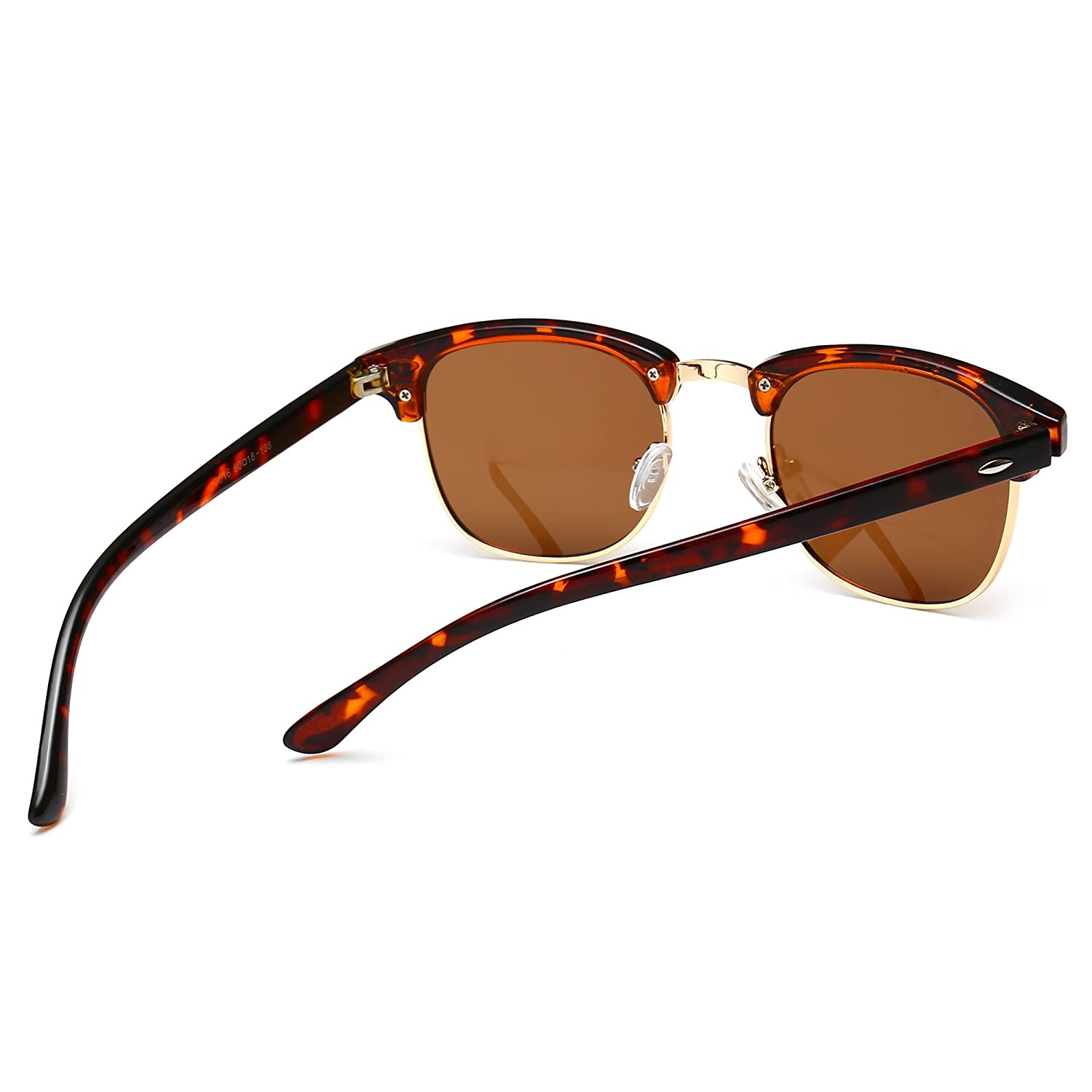 4f00310c7da Amazon.com  SUNGAIT 80s Sunglasses Retro Semi Rimless for Men Women (Amber  Frame Brown Lens) 3016 HPKC  Clothing