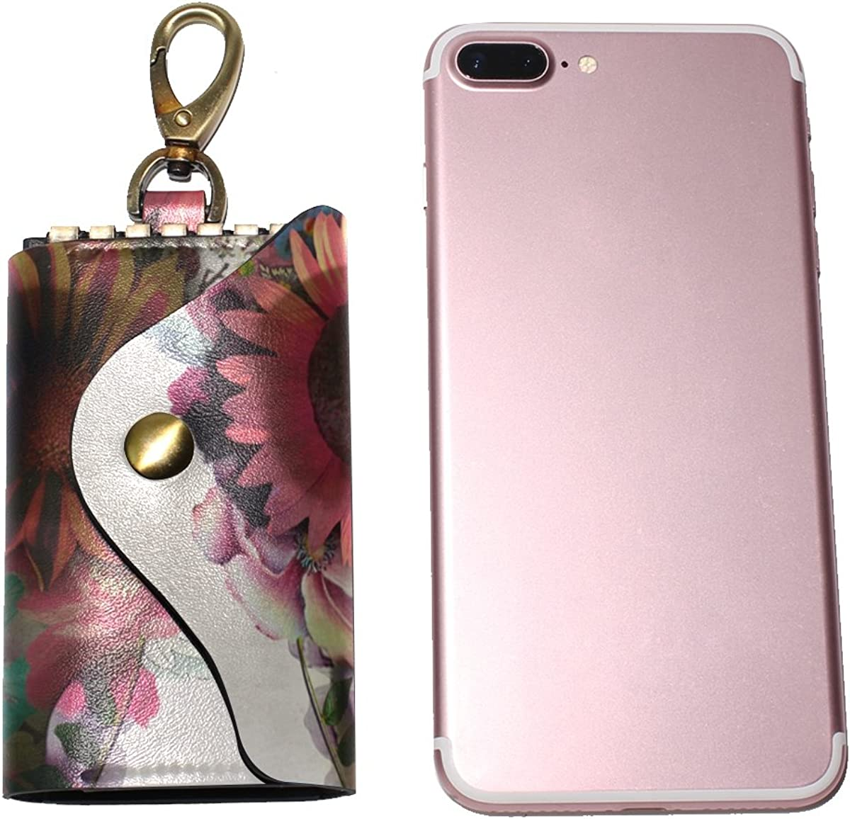 DEYYA Skull Leather Key Case Wallets Unisex Keychain Key Holder with 6 Hooks Snap Closure