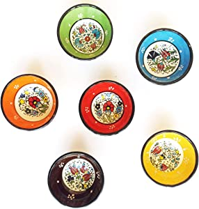 Ayennur Decorative Desing Turkish Ceramic Bowl Set of 6 - Handcrafted Multicolor Pinch Small Finger Bowls (Multi2)
