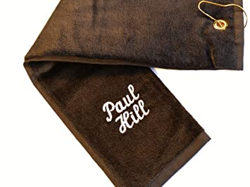 personalised luxury tri fold velour golf towel with any name black