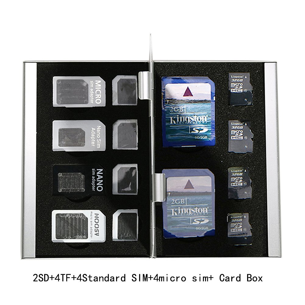 4 TF Card Holders Myymee 2 SD Card Holders 2 Standard SIM Card Holders 2 Nano Sim Card Holders,Metal Aluminum alloy SD Card Holder Case Memory Card Storage Case Silver 2 Micro Sim Card Holders