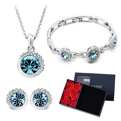8a4c0b211 T400 Navy Blue Crystal Round Pendant Necklace, Stud Earrings and Link Bracelet  Jewelry Set &