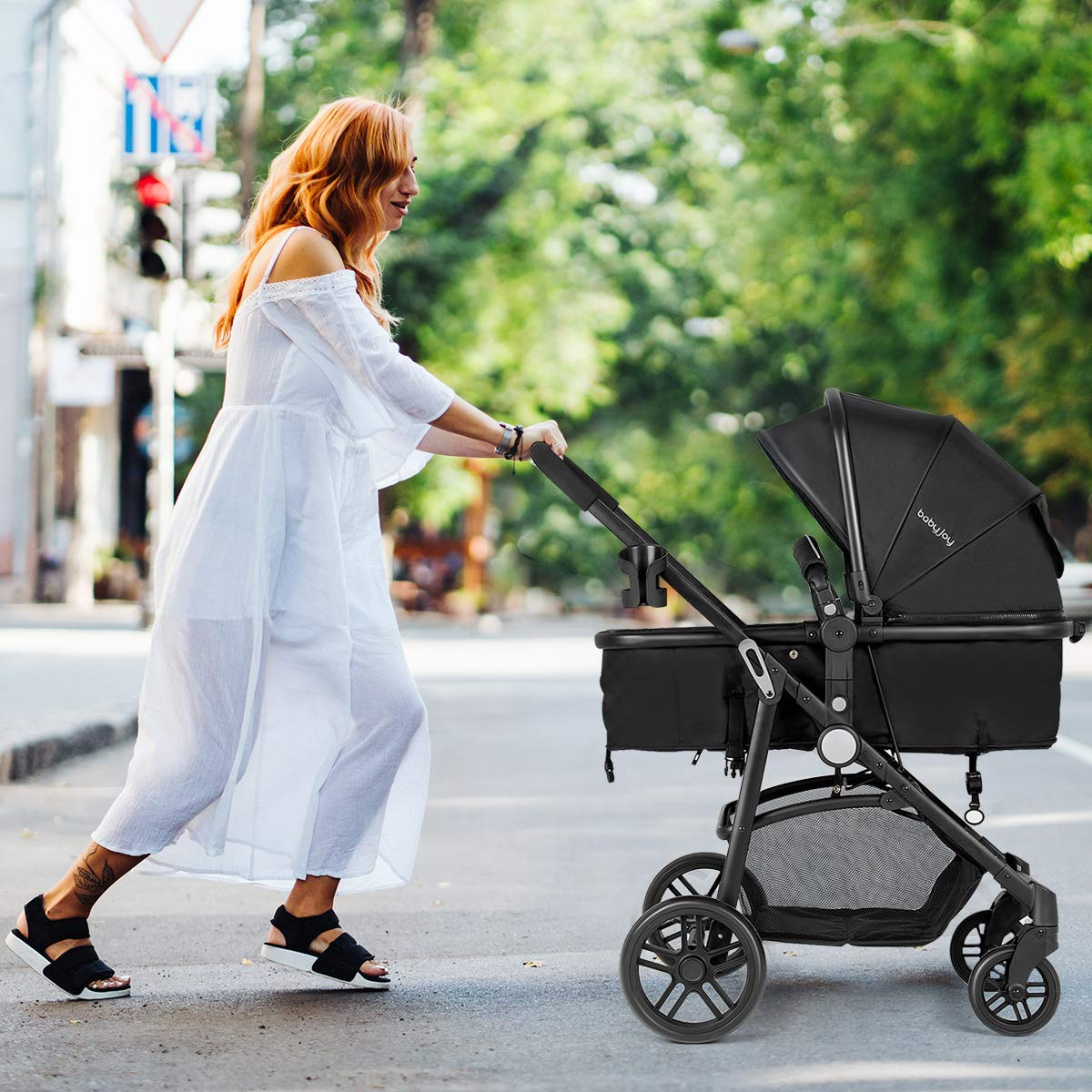 BABY JOY Baby Stroller, 2 in 1 Convertible Carriage Bassinet to Stroller, Pushchair with Foot Cover, Cup Holder, Large Storage Space, Wheels Suspension, 5-Point Harness, Deluxe Black by BABY JOY (Image #3)