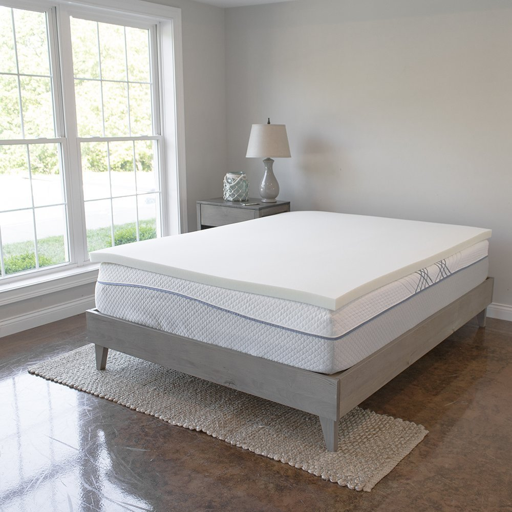 eLuxurySupply Back-to-School Memory Foam Mattress Topper - 2 Inches of 100% Real Visco Elastic Foam | 3 lb density for High Support and High Response | Made in USA | CertiPUR-US Certified, Twin XL