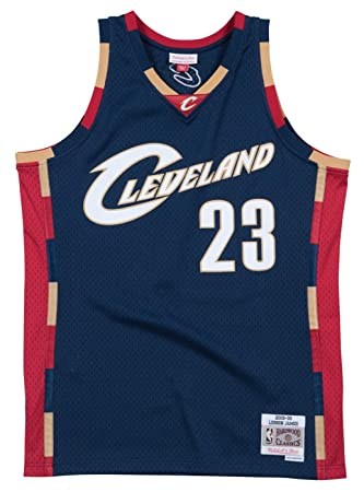 new product 64f0a 03b44 Lebron James Cleveland Cavaliers Mitchell and Ness Men's Navy Throwback  Jesey