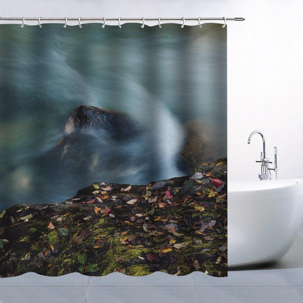 Amazon Feierman Rapid Rock Shower Curtain Deciduous Fabric Bathroom Decor Machine Washable Mildew Resistant Waterproof With Hooks 70x70Inches