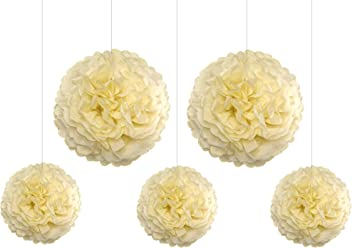 EinsSein 5er Mix Pom Poms 3X Medium (25cm) 2X Large (35cm) Creme Hochzeit Wedding Pompons Dekokugel