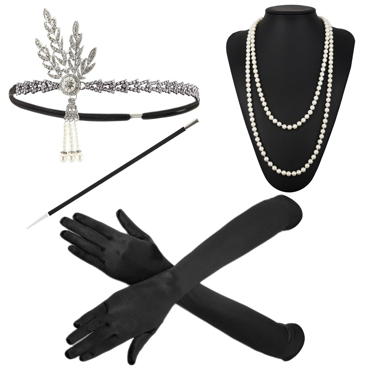 ZeroShop 1920s Accessories Headband Earrings Necklace Gloves Cigarette Holder (Medium, M24)