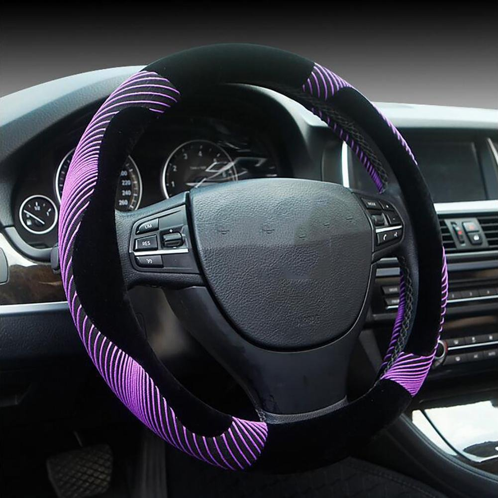 Auto Accessories Generic Winter Car Steering Wheel Cover in Striped Short Plush Soft Plush Imitation, Purple