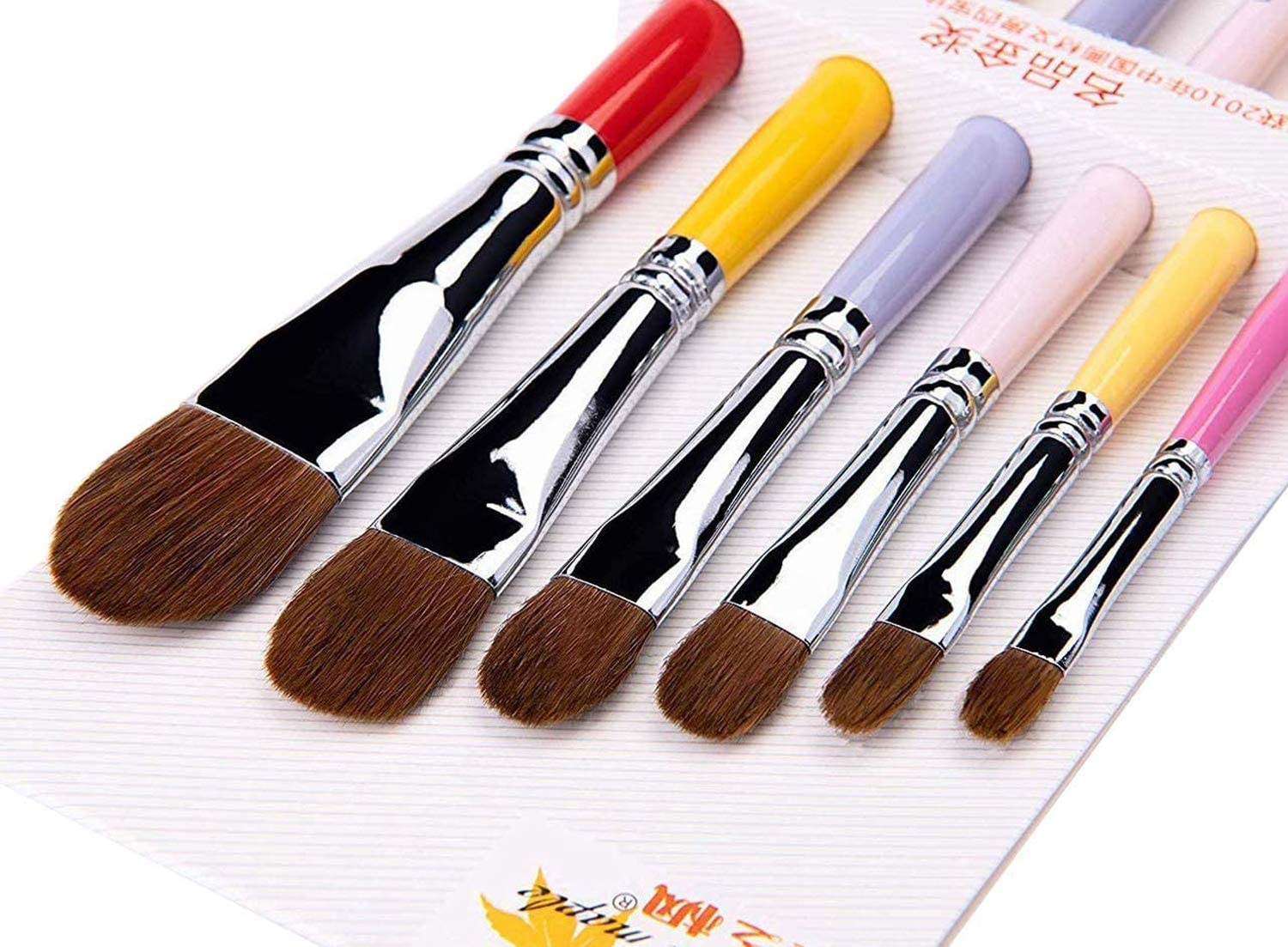 Acrylic /& Oil Painting Paint by Numbers Suitable for Beginner Professional Artist Filbert Paint Brush Sable Hair Cats Tongue Shape Set of 6pcs for Watercolor Students