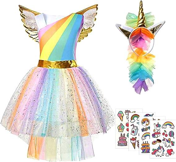 Tacobear Disfraz Unicornio Niña Princesa Unicornio Vestido Tutu ...
